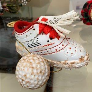 Pro Golf Shoe & Ball Christmas Ornament NEW